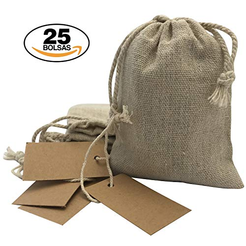 Bolsitas regalos tela arpillera etiquetas papel Kraft