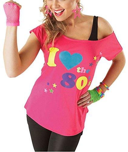 Deluxe I Love The 80's Damen T-Shirt Pop Star Pink Top-Kostüm Sexy Retro (Pop Star Fancy Dress)