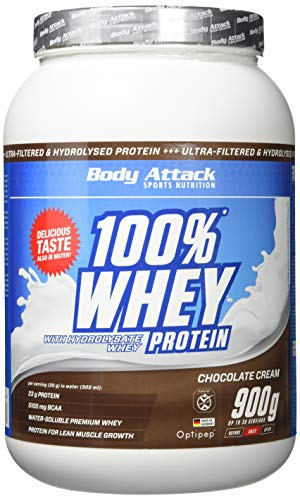 Body Attack 100% Whey Protein, Schokolade, 1er Pack (1x 900g) - Perfekte Protein-schokolade