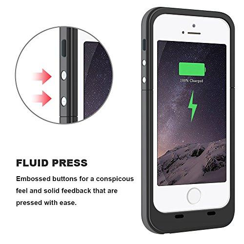 Coque batterie iPhone 5S, iPhone SE Coque batterie, Higoo Portable iPhone 5S chargeur recharge externe Power Bank étui de chargement 2500mAh Chargeur de batterie de sauvegarde de protection Coque pou noir