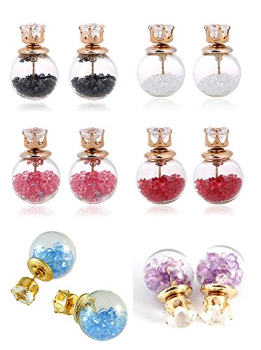 YouBella L\'amore Collection Crystal Jewellery Combo of Two Sided Earrings for Girls and Women