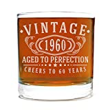 Spotted Dog Company Vintage 1960 Etched 11oz Whiskey Rocks Glass - 60th Birthday Aged to Perfection - 60 Years Old Gifts Bourbon Scotch Lowball Old Fashioned
