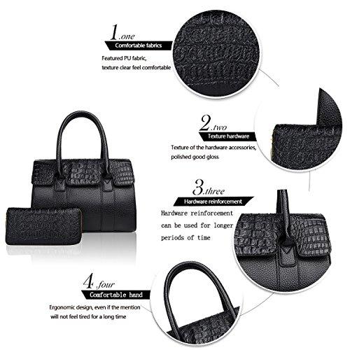 Sunas Retro modello di coccodrè della borsa delle signore di modo due insiemi del sacchetto del messaggero della spalla del sacchetto delle donne e del raccoglitore nero