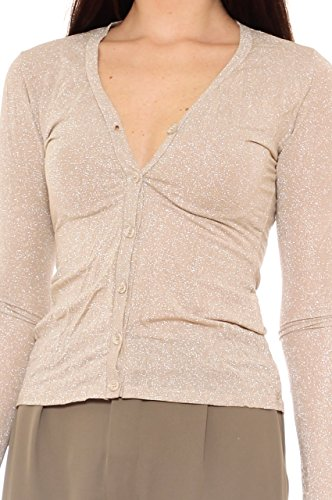 Cardigan donna slim fit in jersey stretch con lurex Beige