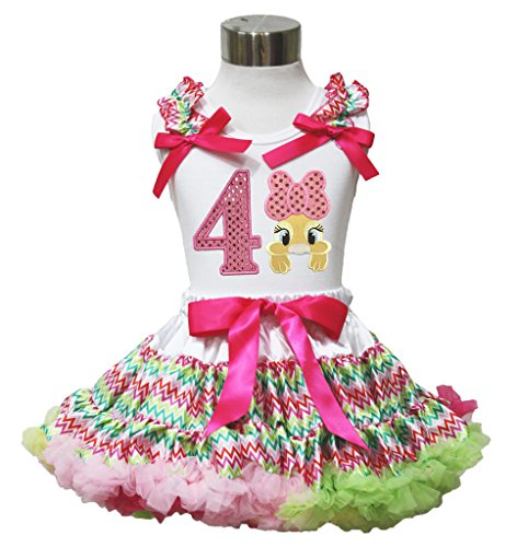 Easter Birthday Number Bow Bunny Shirt Rainbow Chevron Pettiskirt Girl Cloth Set (1-2 Jahr, number ()