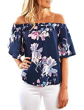 Rcool - Camisas Manga Larga de la Camiseta de la Impresión de la Flores de la Flojas Blusa del Hombro Fuera de...