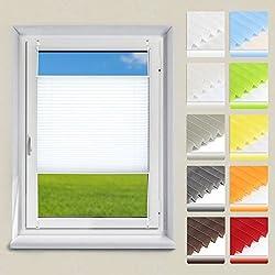 OUBO Plissee Klemmfix Faltrollo ohne Bohren Jalousie 75 x 120 cm (BxH) Weiß Sichtschutz Rollo für Fenster & Tür