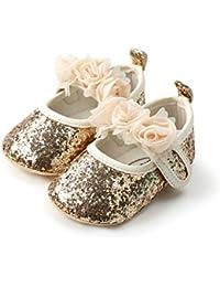 Isbasic Baby Boys Girls Flat Shoes Toddler Soft Sole Mary Jane Pincess  Christening Baptism Crib Shoes 783648ca761b
