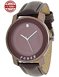 Fonex Men's Swiss Quartz Stainless Steel And Leather Watch - 3600301