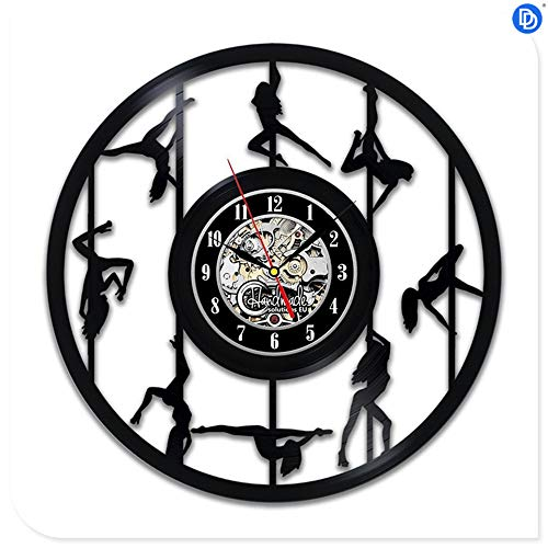 Schwarz CD Record Clock Ballett Tanzen der Film Design Vinyl 3D Wanduhr Tango Salsa Pole Dance Wandaufkleber Tropical Party Dekorationen, großes Geschenk für Geburtstag, Jubiläum oder eine andere