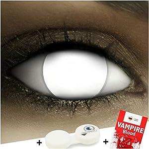 Farbige weiße Kontaktlinsen Blind White + Kunstblut Kapseln + Behälter von FXCONTACTS®, weich, ohne Pupille, ganzes Auge koplett blind ohne Stärke als 2er Pack – perfekt zu Halloween, Karneval, Fasching oder Fasnacht