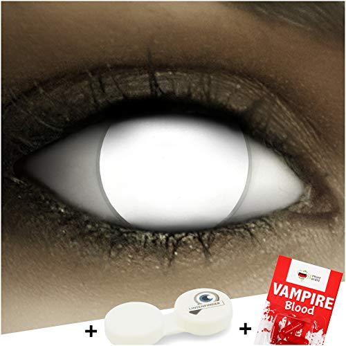 Farbige weiße Kontaktlinsen Blind White + Kunstblut Kapseln + Behälter von FXCONTACTS®, weich, ohne Pupille, ganzes Auge koplett blind ohne Stärke als 2er Pack - perfekt zu Halloween, Karneval, Fasching oder Fasnacht