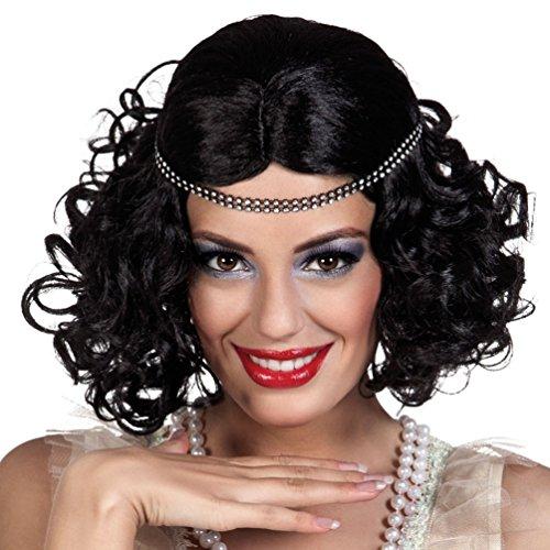 Kostüm Charleston Zubehör - ,Karneval Klamotten' Kostüm Perücke Charleston schwarz mit Stirnband Zubehör Karneval 20er Jahre