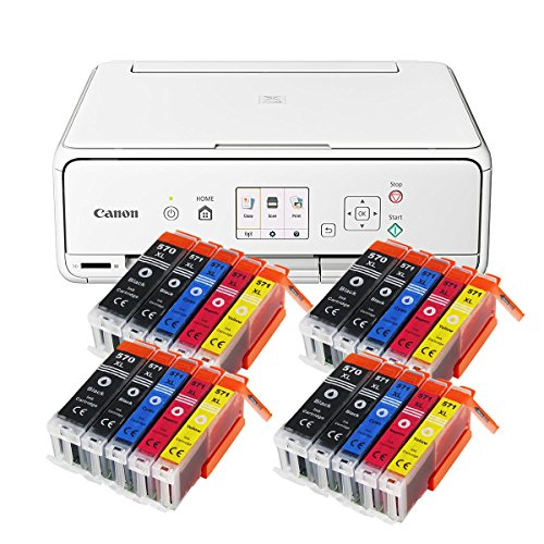 Canon Pixma TS5051 TS-5051 Farbtintenstrahl-Multifunktionsgerät (Drucker, Scanner, Kopierer, USB, WLAN, Apple AirPrint, SD-Kartenleser) weiß + 20er Set IC-Office XL Tintenpatronen 570XL 571XL - Apple-kompatible Drucker