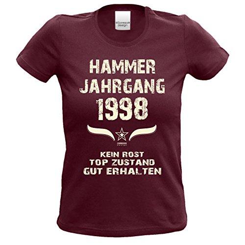 Geschenk Zum 19. Geburtstag Hammer Jahrgang 1998 : Damen Frauen Mädchen  Girlie Kurzarm T