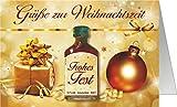 Weihnachtskarte mit Kräuterlikör als witziges Weihnachtsgeschenk mit Schnaps harzer Likör zum verschenken (Grüße zur Weihnachtszeit Frohes Fest gold 22118)