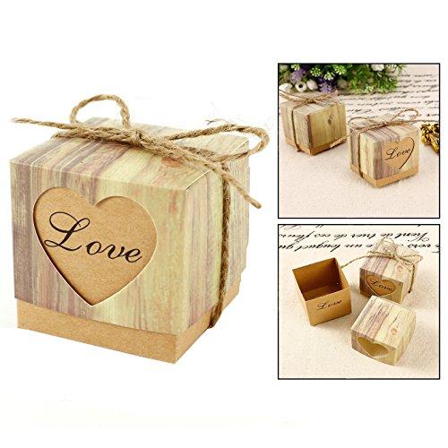 Itian 100 Herz Love Style Boxen mit Vintage Bindfäden für Hochzeit Party Geburtstag Baby Dusche Decor