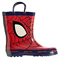 Kids Boys Girls Printed Pull Loops Wellies Shoes Boots (C8 (25.5), Spiderman)
