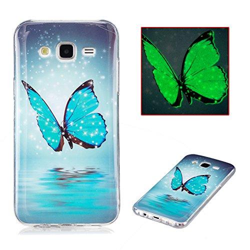 Cover Samsung J5 2015 Silicone, Aeeque Fantasia Brillantini Luminosa Farfalle Blu Custodia in Silicone Morbido per Samsung Galaxy J5 (2015) 5.0' Trasparente Bordo Antiurto Telefono Rigida Bumper