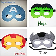 Super Hero Fieltro máscara Set–Hulk, Iron Man, Thor, Capitán América