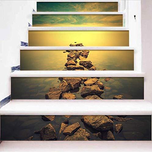 LIZHIOO Treppenaufkleber Sea Rock Aufkleber PVC Wasserdicht 3D Leiter Aufkleber Abnehmbare Selbstklebende Boden Wandaufkleber DIY Hauptdekoration (100Cm*18Cm) 13Pcs -