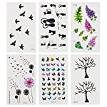 WANDIC Tattoo sticker, 12 Sheets 6 style of Craft Stickers Leaf Dandelion Cat Butterfly Tree Leaves Sticker for DIY Crafts Mobile Phone Decor