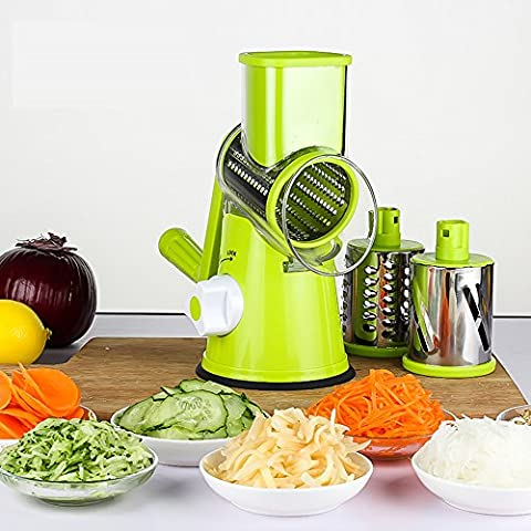 Addfun®New Multi-function Vegetables Fruit Cutter,Safe Manual Hand High Speedy Mandoline Slicer,Shredders,Grinder,3pcs Changable Drum type Stainless Steel Blades Kitchen