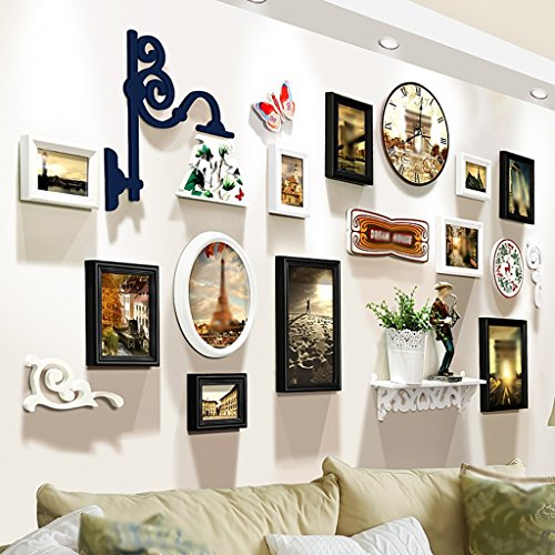 C&L Creative Fashion Photo Mur Salon Étagère Cadre mural Montres et horloges Combinaison Restaurant Cadre photo Design original Personnalité de la mode Contient des étagères, y compris la montre avec la gravure de la mode ( Couleur : C )