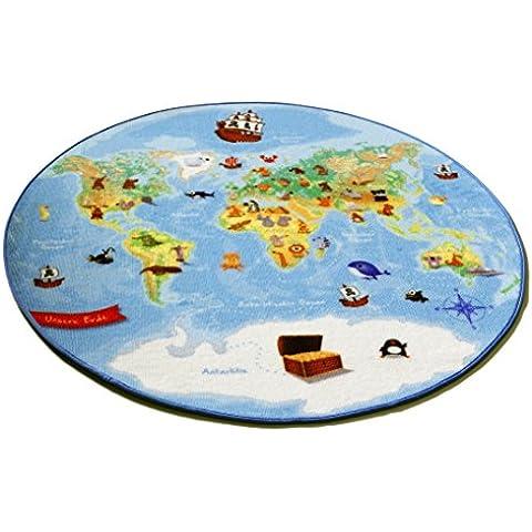 Böing Carpet W-Map - Alfombra redonda (130 cm), diseño del mapa del mundo