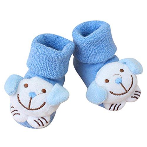 Cooljun 0-1 années vieux bande dessinée nouveau-né enfants bébé filles garçons antidérapant chaussettes chaudes pantoufles chaussures bottes (E)