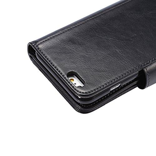 Levanpro Étui portefeuille en cuir + 2 en 1 Pochette Amovible Photo Frame PU Crazy Horse Housse en cuir pour iPhone 6/6s Plus C