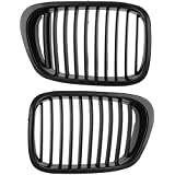 Direct Fit OEM Replacement Matt Black Front Grille Mesh Left Right for BMW 2000-2003 E39 M5 4D