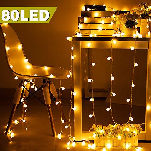 rnen,Pomisty 10M 80LED LED Lichterkette Warmweiß Stimmungslichter,IP65 Wasserdicht Garten Lichterkette Dekoration Beleuchtung Kugel für Weihnachten, Hochzeit, Party ()