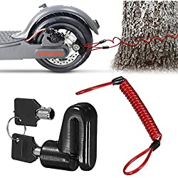 Scooter Eléctrico Cerradura del Freno de Disco Cerradura de Seguridad, Cerradura de Alambre de Acero Antirrobo para Xiaomi Mijia M365 Ruedas de Bicicleta Armario con Cuerda de Recordatorio (Negro)