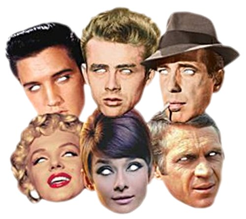 sene Hollywood Stars Masken, 6 Stück, Mehrfarbig (James Dean Kostüm)