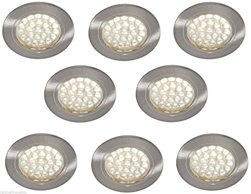 8 X 12V RECESSED SPOT LIGHTS DOWNLIGHTS CARAVAN MOTORHOME BOAT WARM WHITE LED'S