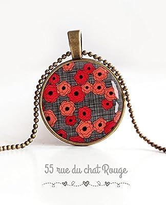 Collier pendentif cabochon 25 mm, Cabochon Coquelicots rouge, et gris