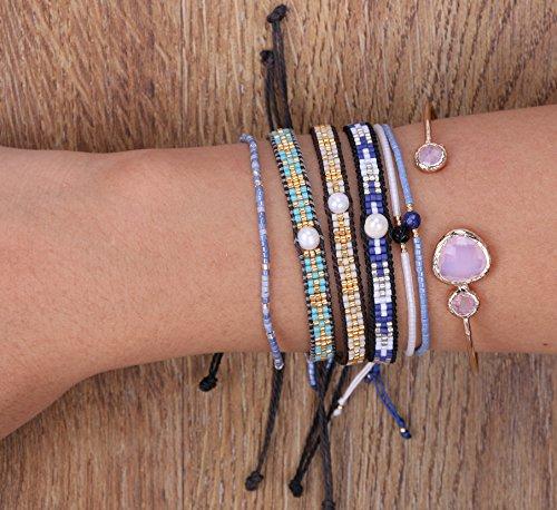 KELITCH Armband Blau Rocailles Perlen Zart Schnur Freundschaftsarmbänder mit Sodalith