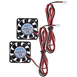 UEETEK 2pcs 4010 ventilador de enfriamiento sin cepillo de la CC 12V ventilador 2 alambre para la impresora de RepRap Prusa i3 DIY 3D