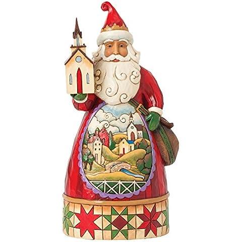 Hearwood Creek 4041068 Resina Babbo Natale con La Chiesa, Disegno da Jim Shore, 22.5 cm