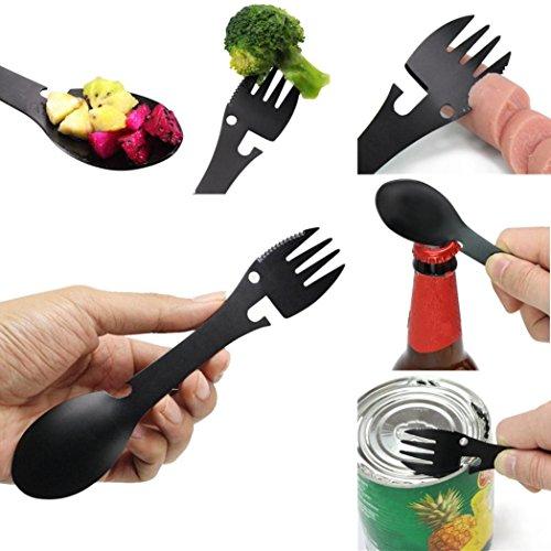 TAOtTAO - Ustensile de cuisine multifonction pour camping, cuillère, fourchette, décapsuleur, outil portable