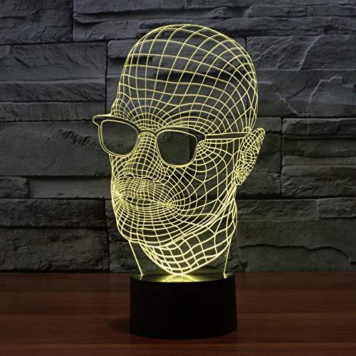 3D Optische Illusions Lampen LED Schreibtisch Tischlampe 7 Farb Transformation Brille Tragen Nachtlicht für Schlafzimmer Büro Dekor für Kindergeburtstag Weihnachtsgeschenk,Remote and touch