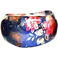 Bracciale lucido floreale Chintz (Blu) in resina con by Joe