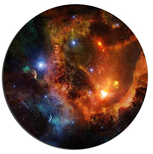 orful Natural Galaxy Background Office Desktop Rubber Non-Slip Round Mouse Mat 9.8 X 11.8 ()