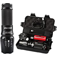 Rechargeable Led Torch Powerful, Torches Rechargeable Powerful, Military Grade Led Tactical Flashlight Shadowhawk X800 1300 Lumens 26650 Battery Torch for Camping, Hiking, Warranty for Two Years