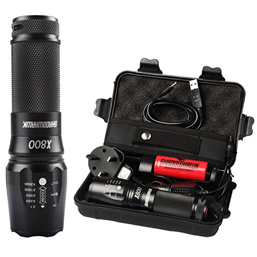 Torches LED Super Bright Rechargeable,Shadowhawk X800 Cree L2 LED Military Torch Tactical Flashlight,1300 Lumens,Adjustable Focus,Zoomable,26650 battery included