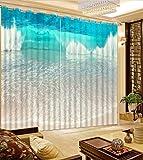 Waple Home Einrichtung Modern Custom Vorhänge Meer Strand Blue Waves Foto Drucken Vorhänge 3D-Vorhänge Blaue Vorhänge Für Wohnzimmer 260X320CM
