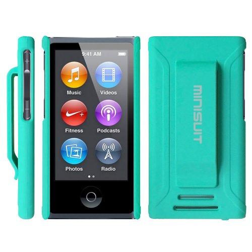 MiniSuit Jazz Slim Shell Schutzhülle mit Gürtelclip + Displayschutzfolie für iPod Nano 7(gummiert grün)