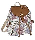 SIX 'Trend' großer weißer Stoff Canvas Rucksack, Damen Handtasche, day bag mit schönen bunten Blumen & Schmetterlingen (463-158)