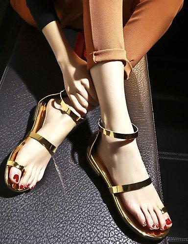 LFNLYX Scarpe Donna-Sandali-Tempo libero / Formale / Casual-Toe ring / D'Orsay / Alla schiava / Aperta-Basso-Di pelle-Argento / Dorato golden